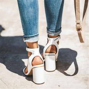 Stylish And Simple Hollow High Heel Sandals