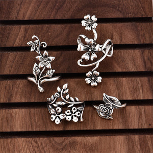 Vintage 4 Pcs Ring Set Bohemian Flower Rings Punk Knuckle Ring Set