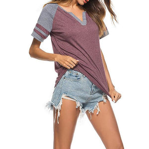 Women Casual V Neck Short Sleeve Color Block Stripe T-Shirts