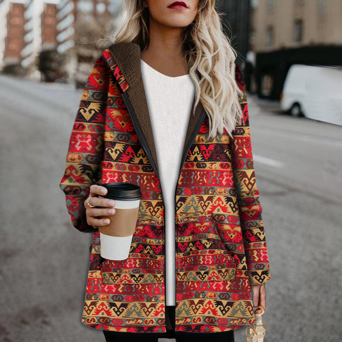Ethnic Print Women's Hooded Coat