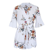 Load image into Gallery viewer, V-Neck Semi-Sleeve Dense Flowers Women's Jumpsuits