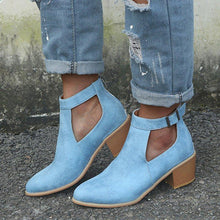 Load image into Gallery viewer, Casual Faux Leather Chunky Heel Ankle Boots