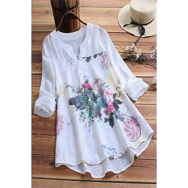 Floral Casual V-Neckline 3/4 Sleeves Dress
