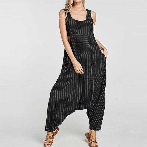 Women Casual Loose Striped Overall Jumpsuit