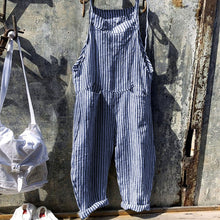 Load image into Gallery viewer, Strap Striped Jumpsuit Wide Leg Pants