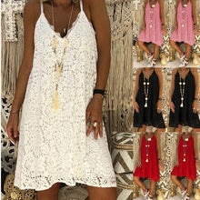 Load image into Gallery viewer, Women Sleeveless Soild Color Dress V-neck Lace Dress