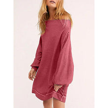 Load image into Gallery viewer, Sexy Boat Neck Lantern Sleeves Solid Dresses