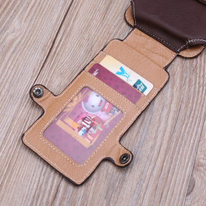 Men Waist Belt Bum Bag Phone Waist Flip Pockets Leather Cards Holder Case