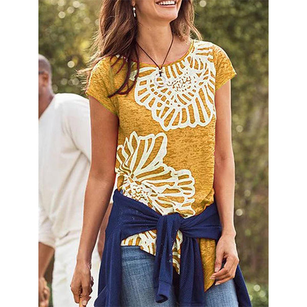 Round Neck Printed Short Sleeve Irregular Hem T-Shirt
