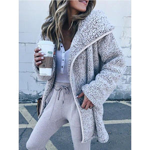 Women Plush Trench Coat Lamb Warm Coats