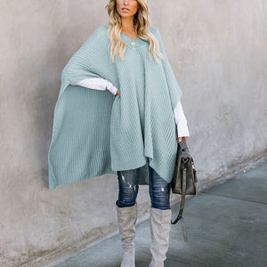 Casual Solid Color Cape Knit Sweater