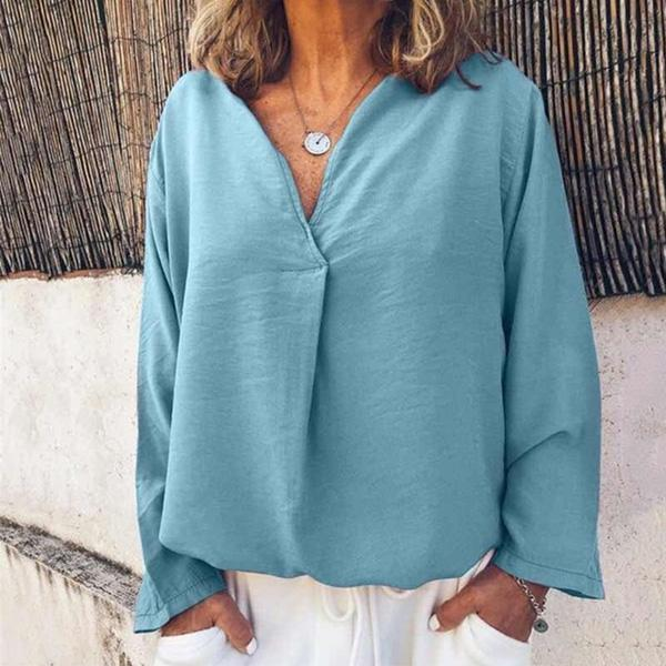 Solid Color Casual Long Sleeve Loose Blouses