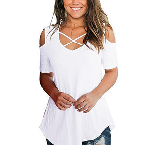Sexy Criss Cross Off Shoulder Short Sleeve Tees