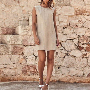 Pure Color Sleeveless Cotton And Hemp Casual Dresses