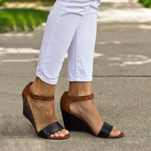 Load image into Gallery viewer, Wedges Heel Buckle Strap Color-block Daily Leisure Sandals
