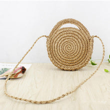 Load image into Gallery viewer, Women Holiday Hand Woven Basket Round Retro Rattan Straw Crossbody Beach Bag