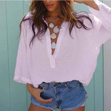 Load image into Gallery viewer, Women's V Neck Loose Solid Casual Blouse