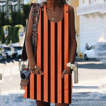Load image into Gallery viewer, Casual Striped Sleeveless Plain Pockets Dresses