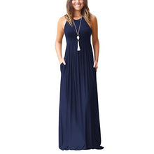 Load image into Gallery viewer, Womens Sleeveless High Waist Round Neck Maxi Dress