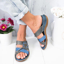 Load image into Gallery viewer, Women Flowers Summer Low Heel PU Holiday Slippers