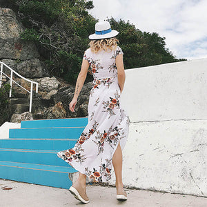Women Sexy V Neck Split Maxi Dress Beach Dress