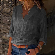 Load image into Gallery viewer, Fashion Plus Size Women Casual Long Sleeve V Neck Plaid Shirt