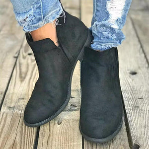 Fashion Artificial Suede Low Heel Ankle Boots