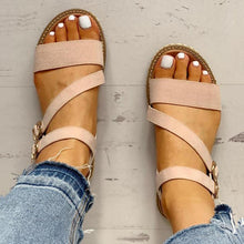 Load image into Gallery viewer, Buckled Strappy Open Toe Flat Sandals