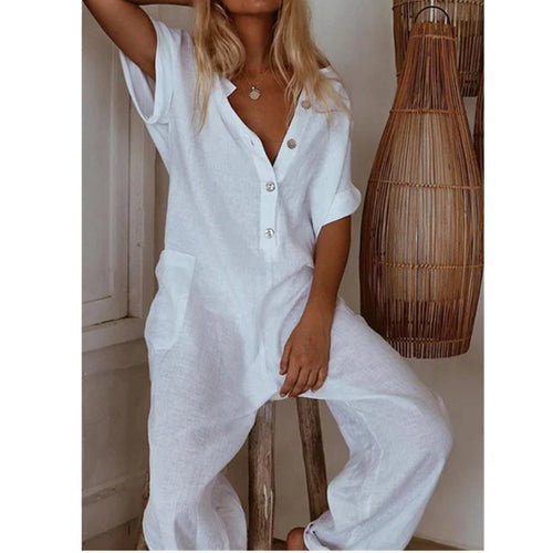 Plus Size Casual Pockets Short Sleeve Jumpsuits