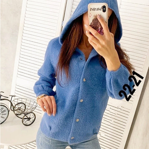 Short Loose Velvet Hooded Jacket
