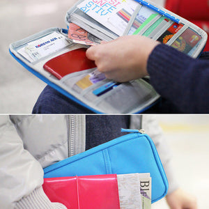 Multiple Pockets Passport Holder Wallet Travel Organizer Bag