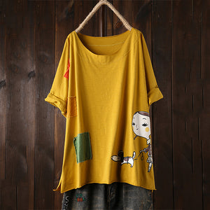 Vintage Cartoon Print Back Pocket Short Sleeve Plus Size T-shirt