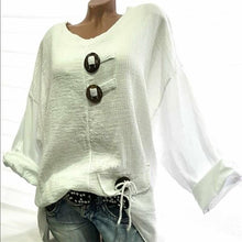 Load image into Gallery viewer, Plus Size Solid Color V Neck Button Blouse