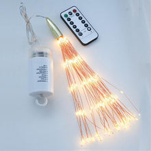 Load image into Gallery viewer, Battery or Solar Hanging Starburst Fairy Strig Lights DIY Copper Fireworks String Garland Party Twinkle Lights