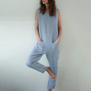 Plus Size Solid Color Pocket Jumpsuits