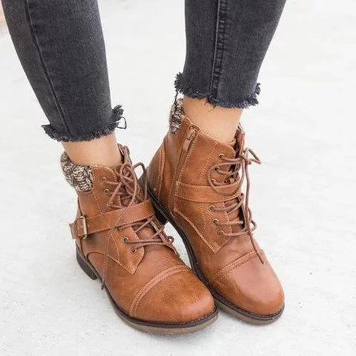 Women Beautiful Knitted Buckle Combat Lace-Up Boots