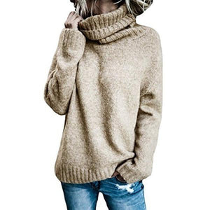 Women Casual High Neck Solid Sweaters
