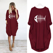Load image into Gallery viewer, Fishbone Print Casual Loose Pocket Long Sleeve Dress