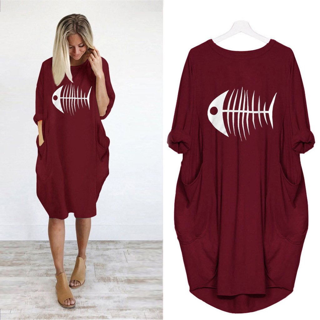 Fishbone Print Casual Loose Pocket Long Sleeve Dress