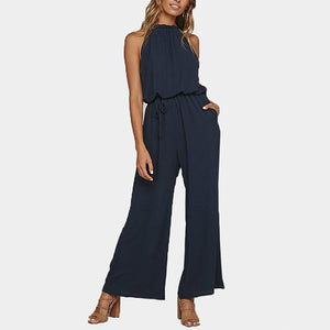 Sexy Solid Pockets Women's Jumpsuits