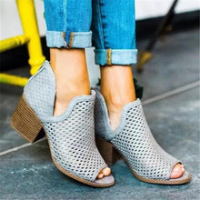 Load image into Gallery viewer, Openwork Fish Mouth Chunky Heel Sandals