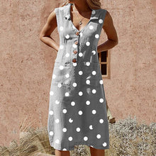 Load image into Gallery viewer, Plus Size Elegant Buttoned Down Polka Dot Pockets Dress