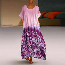 Load image into Gallery viewer, Summer Floral Print Two Pieces Patchwork Plus Size Maxi Dress