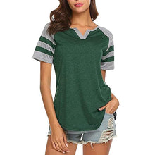 Load image into Gallery viewer, Women Casual V Neck Short Sleeve Color Block Stripe T-Shirts