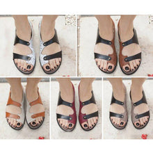 Load image into Gallery viewer, Women PU Sandals Peep Toe Adjustable Buckle Shoes