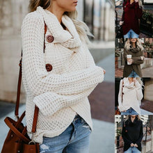 Load image into Gallery viewer, Women's Loose Cardigan Warm High Collar Irregular Knit Button Sweaters
