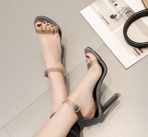 Fashion Transparent PU Summer Thin High Heels Ladies Sandals