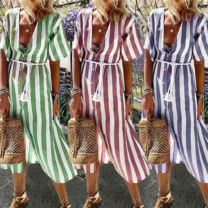 Womens Casual V Neck Stripe Maxi Dress