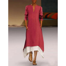 Load image into Gallery viewer, A-line Women Elegant Long Sleeve Paneled Solid  Plus Size Dress