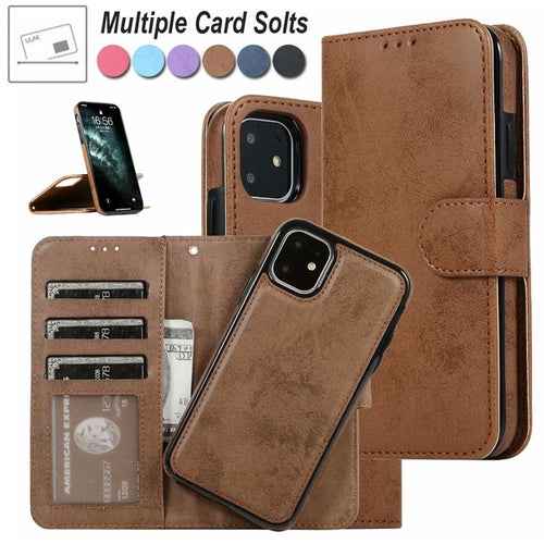 Retro MagneticRemovable 2in1 Wallet Flip Phone Case Cover